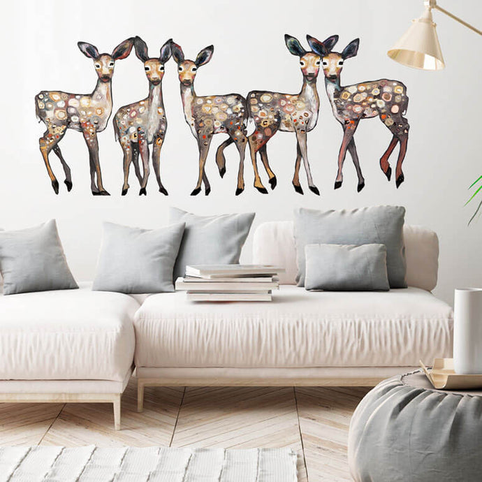 5 Dancing Fawns Wall Decal 54