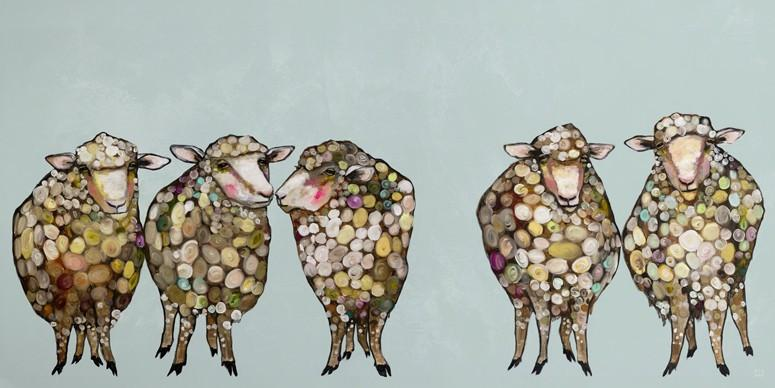 5 sheep baby nursery art print