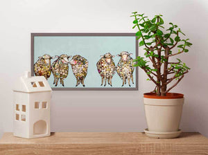 "5 Woolly Sheep Mini Print 10""x5"""