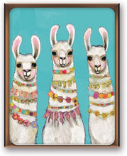 Load image into Gallery viewer, Llama Metallic Gold Embellished Note Cards Box of 8