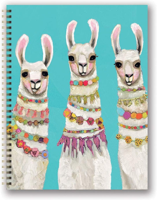Large Llama Spiral Notebook With Metallic Gold Embellished Cover