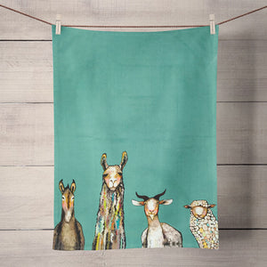 Donkey Llama Goat Sheep Tea Towel