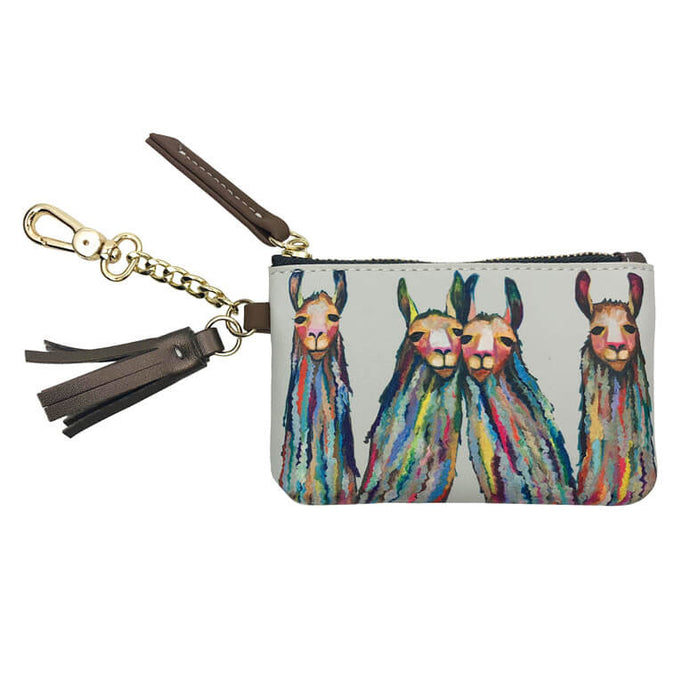 Four Lively Llamas Key Pouch