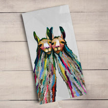 Load image into Gallery viewer, Four Lively Llamas Tea Towel