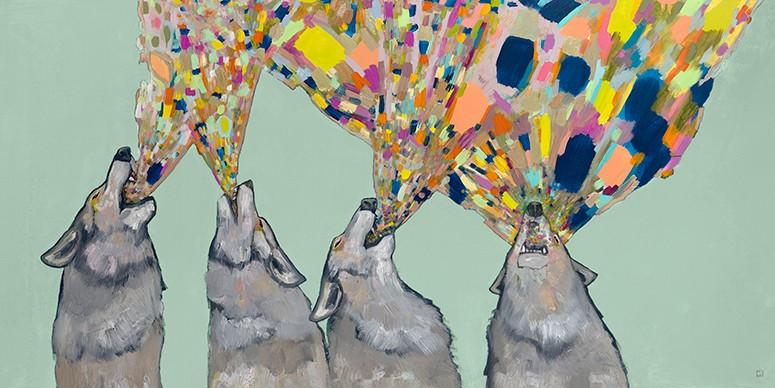 Four Wolves Howling  on Mint - Canvas Giclée Print
