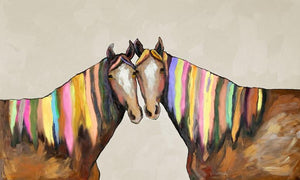Manes of Color on Cream - Canvas Giclée Print