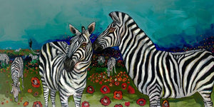 Poppy Field of Zebras - Canvas Giclée Print