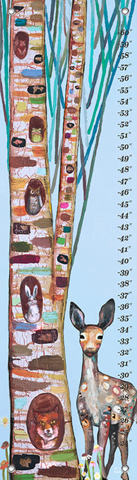 Animals in a Tree on Ice Blue Growth Chart