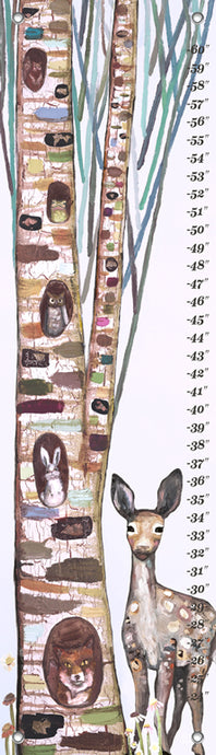 Animals in a Tree on Ice Pink Growth Chart