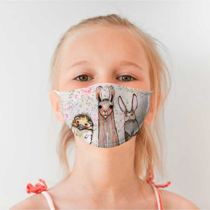 Baby Llama and Friends Cotton Jersey Face Mask