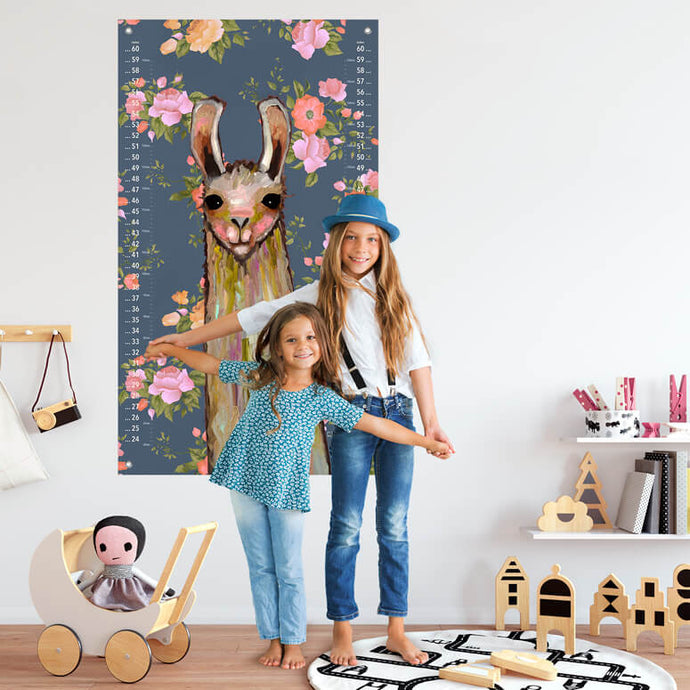Baby Llama - Floral Growth Chart for Siblings