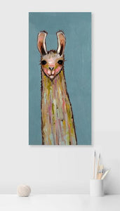 Baby Llama on Blue - Canvas Giclée Print