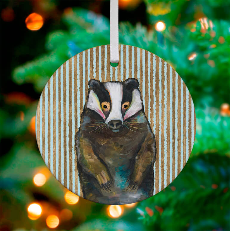 Holiday - Badger with Gold Stripes Ceramic Ornament