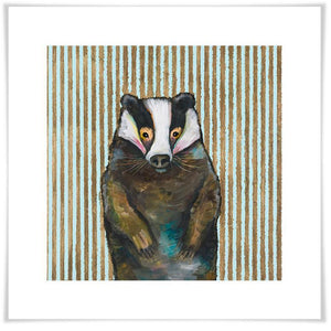 Badger In Stripes - Paper Giclée Print