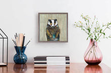 "Load image into Gallery viewer, Badger with Gold Stripes Mini Print 6""x6"""