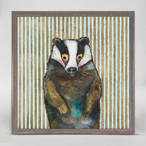 "Badger with Gold Stripes Mini Print 6""x6"""