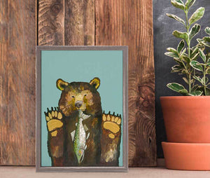 "Bear with Salmon Mini Print 5""x7"""