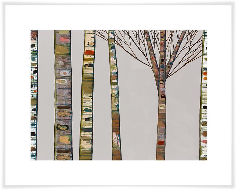 Birch Tree Branches on Light Grey - Paper Giclée Print