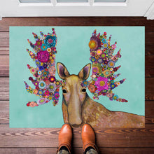 "Load image into Gallery viewer, Blooming Moose 30""x22.5"" Floorcloth"