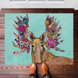 "Blooming Moose 30""x22.5"" Floorcloth"