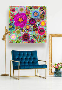 Blooms on Spring Green - Canvas Giclée Print