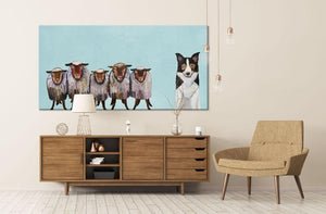 Border Collie and Crew in Sky Blue - Canvas Giclée Print