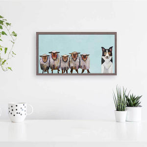 "Border Collie and Crew - Sky Blue Mini Print 10""x5"""