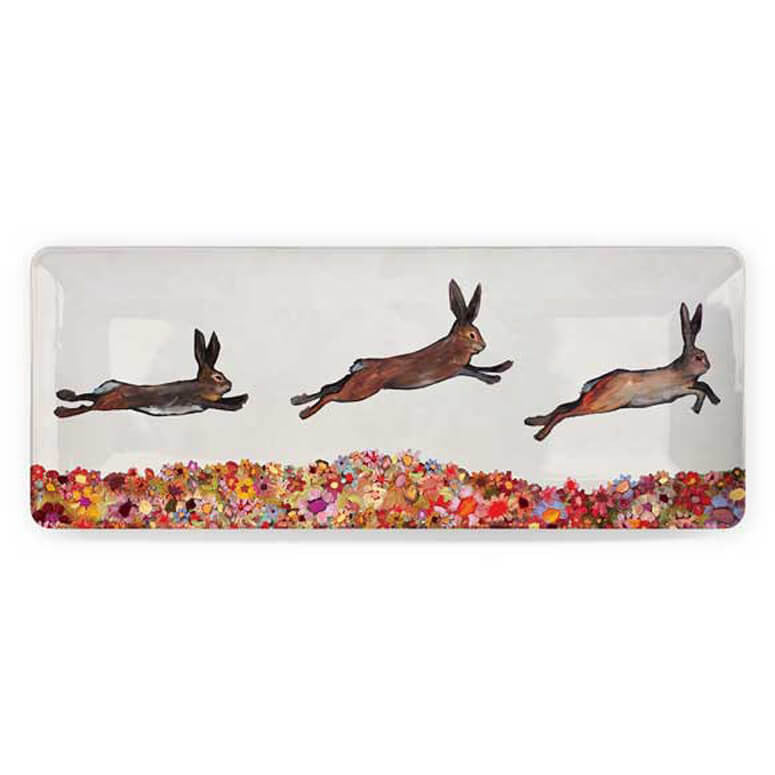 Brown Bunnies Jumping Over Flowers Medium Platter