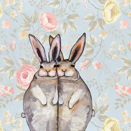 Cuddle Bunnies in Floating Flowers - Canvas Giclée Print