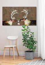 Load image into Gallery viewer, Caribou Family in Floral Wallpaper - Canvas Giclée Print