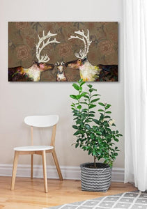 Caribou Family in Floral Wallpaper - Canvas Giclée Print