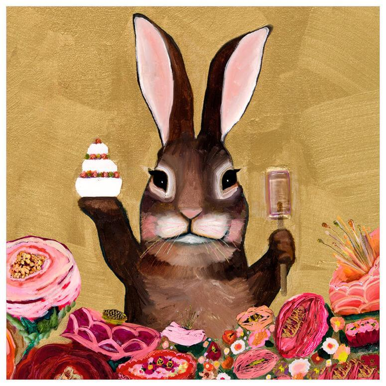 Bunny With Sweets - Canvas Giclée Print
