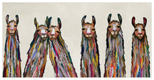 Load image into Gallery viewer, Six Lively Llamas on Cream - Canvas Giclée Print
