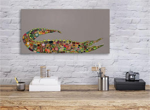 Crocodile in Clay Gray - Canvas Giclée Print