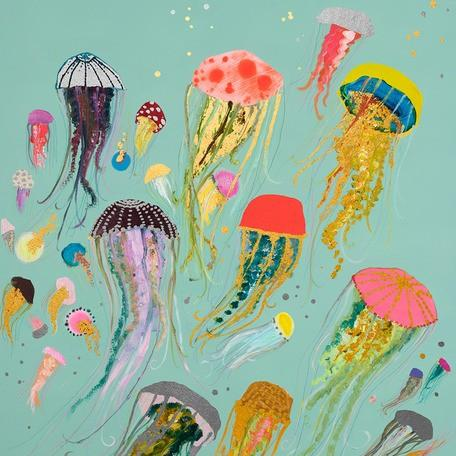 Floating Jellyfish Metallic Embellished - Canvas Giclée Print
