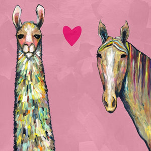 Llama Loves Horse in Pink - Canvas Giclée Print