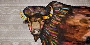 Crowned Bison in Tribal Cream - Canvas Giclée Print