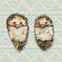 Load image into Gallery viewer, Hedgehog Duo On Bohemian Pattern - Canvas Giclée Print