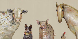 Cattle Dog and Crew in Oatmeal - Canvas Giclée Print