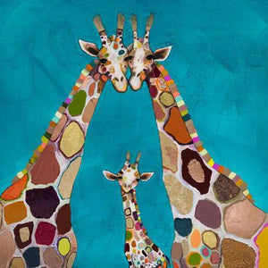 Giraffe Family in Turquoise - Canvas Giclée Print