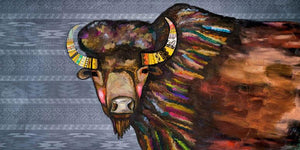 Crowned Bison in Tribal Blue- Canvas Giclée Print