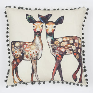 Dancing Deer - Cream Pillow