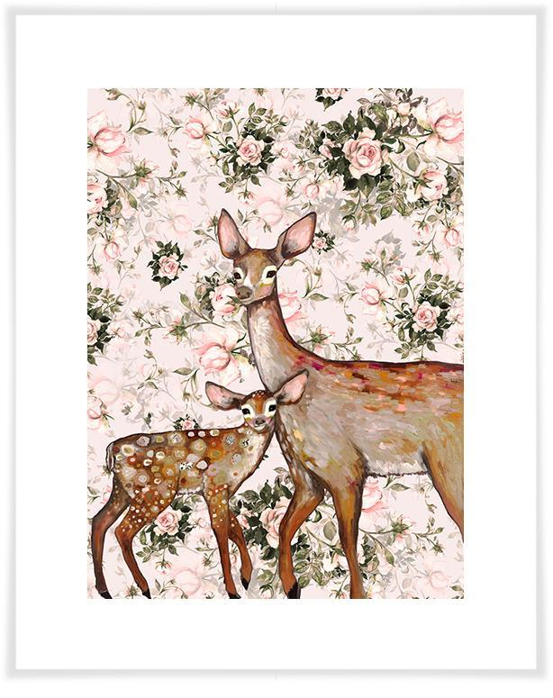 Deer with Fawn Floral - Paper Giclée Print