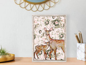 "Deer with Fawn - Floral Mini Print 5""x7"""