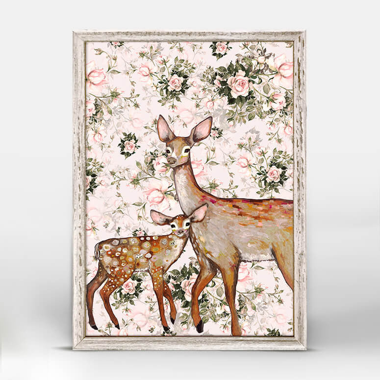 Deer with Fawn - Floral Mini Print 5