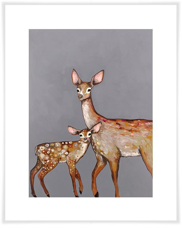 Deer with Fawn Grey - Paper Giclée Print