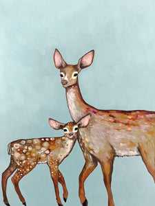 Deer with Fawn Blue - Canvas Giclée Print
