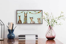 "Load image into Gallery viewer, Donkey Llama Goat Sheep with Garland Mini Print 10""x5"""