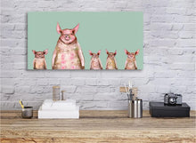 Load image into Gallery viewer, Five Piggies in a Row Mint - Canvas Giclée Print