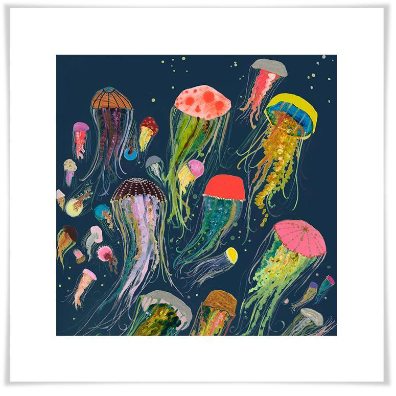 Floating Jellyfish in Indigo - Paper Giclée Print